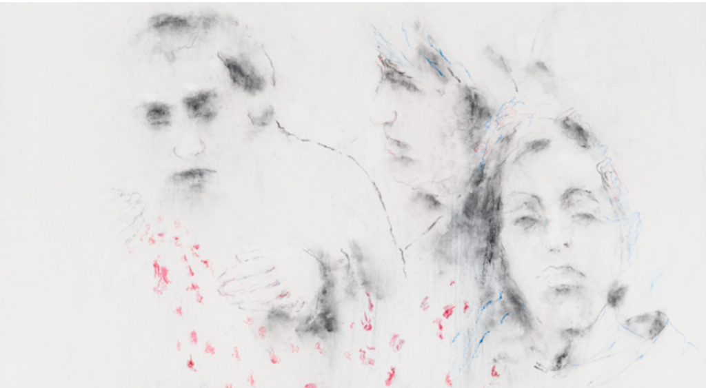 Arié Mandelbaum, B.K.M., tempera et technique mixte sur toile, 90x90 cm, 2017. Photo © Brice Vandermeeren