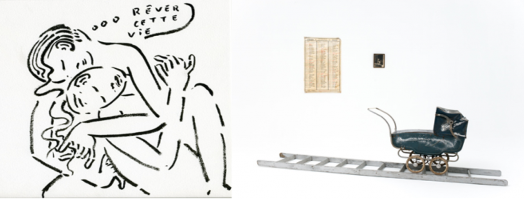 Sarah Kaliski, sans titre, encre sur papier, 21 x 30 cm, s.d. | Marianne Berenhaut, Vie privée. Le départ, 170 x 300 x 300 cm, 1982. Photo © Luc Malice