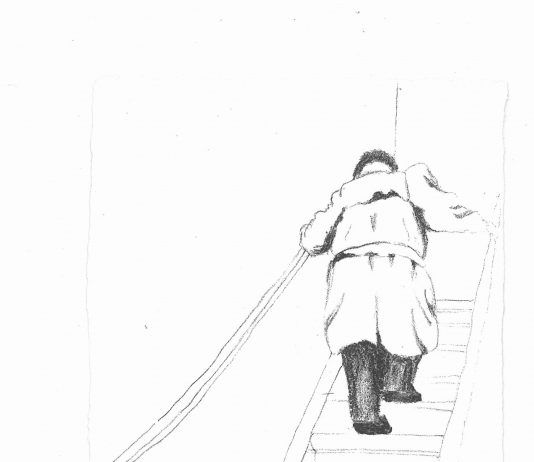 Ignace Lapiower montant les escalier